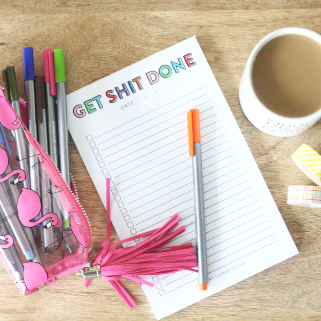 get s*** done notepad and coffee