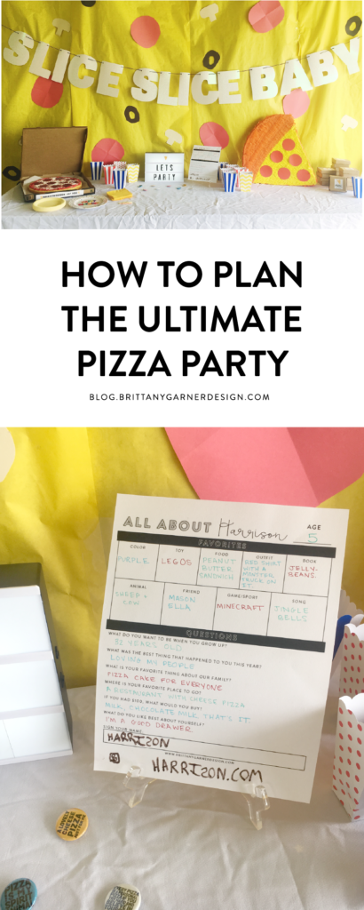 5th birthday pizza party decor and paper goods