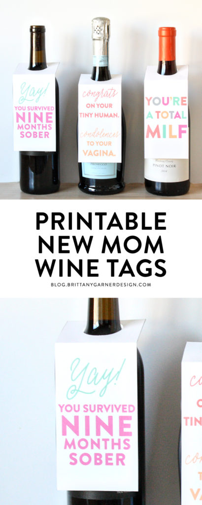 Pin-New Mom Wine Tags Printable