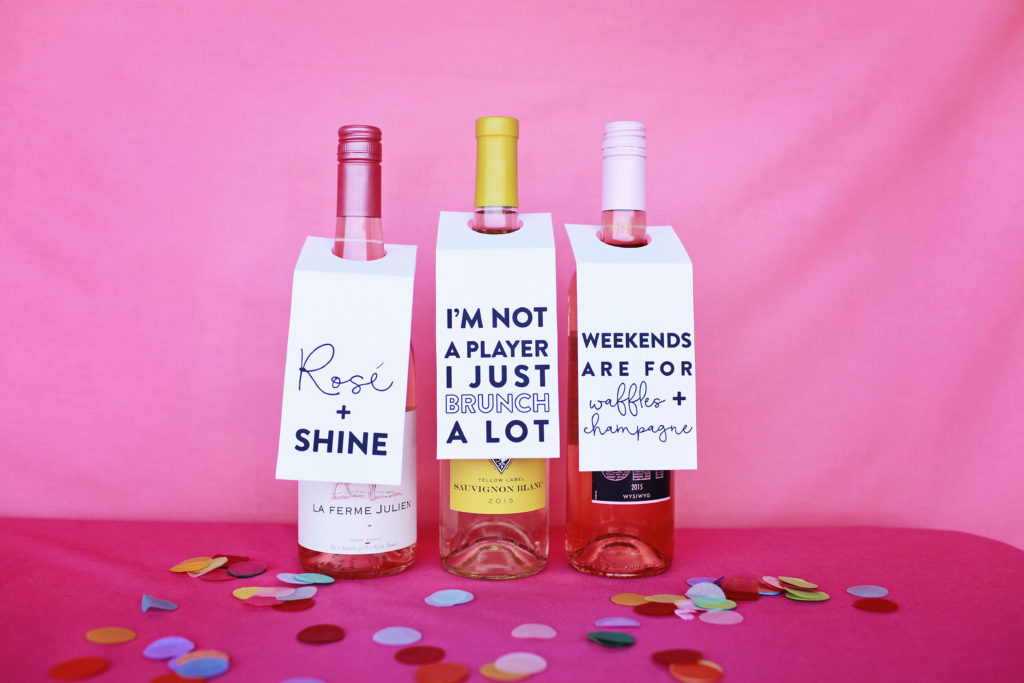 Rose and shine wine tags - free printable